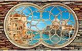 Fotobehang Venetië, Muur | Blauw | 312x219cm