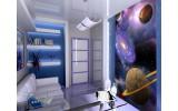 Fotobehang Papier Planeten | Blauw, Paars | 184x254cm