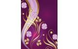 Fotobehang Papier Bloemen   Paars, Goud   184x254cm