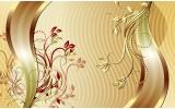 Fotobehang Vlies | Klassiek, Bloemen | Goud | 368x254cm (bxh)