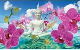 Fotobehang Papier Boeddha, Orchidee | Blauw | 254x184cm