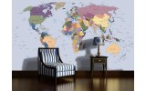 Fotobehang Wereldkaart | Blauw | 104x70,5cm