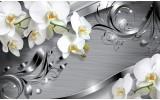 Fotobehang Papier Bloemen, Orchidee | Zilver | 254x184cm