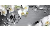 Fotobehang Bloemen, Orchidee | Zilver | 250x104cm