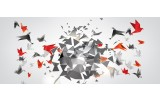 Fotobehang Abstract, Origami   Rood   250x104cm