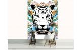 Fotobehang Papier Tijger | Blauw, Wit | 184x254cm
