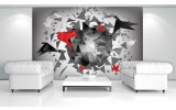 Fotobehang 3D, Origami | Rood | 104x70,5cm