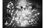 Fotobehang Papier 3D, Origami | Grijs | 254x184cm
