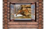 Fotobehang Hout, Tijger | Bruin | 104x70,5cm