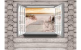 Fotobehang Papier Hout, Strand | Grijs | 368x254cm