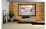 Fotobehang Papier Hout, Strand | Bruin | 254x184cm