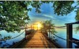 Fotobehang Vlies | Natuur, Brug | Blauw | 368x254cm (bxh)