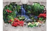 Fotobehang Waterval, 3D | Groen | 152,5x104cm