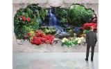 Fotobehang Waterval, 3D | Groen | 416x254