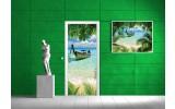 Deursticker Muursticker Strand | Groen | 91x211cm