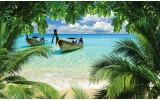 Fotobehang Vlies | Strand, Zee | Groen, Blauw | 368x254cm (bxh)