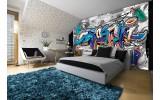 Fotobehang Graffiti | Grijs, Blauw | 208x146cm