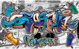 Fotobehang Vlies | Graffiti | Grijs, Blauw | 368x254cm (bxh)