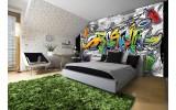 Fotobehang Papier Graffiti | Grijs, Geel | 368x254cm