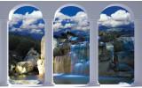 Fotobehang Papier Natuur, Waterval | Blauw | 254x184cm