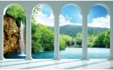 Fotobehang Papier Natuur, Waterval | Groen | 368x254cm