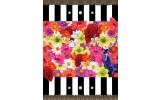 Fotobehang Papier Bloemen, Strepen | Rood | 184x254cm