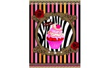 Fotobehang Cupcake, Strepen | Roze | 206x275cm