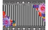 Fotobehang Papier Strepen, Bloemen | Grijs | 254x184cm