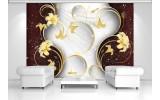 Fotobehang Papier Bloemen, Modern | Zilver | 254x184cm