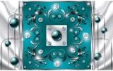 Fotobehang Modern, Slaapkamer | Zilver, Turquoise | 104x70,5cm