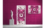 Deursticker Muursticker Abstract | Roze | 91x211cm