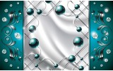 Fotobehang Modern, Slaapkamer | Zilver, Turquoise | 312x219cm