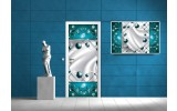Deursticker Muursticker Abstract | Turquoise | 91x211cm