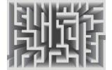 Fotobehang Vlies | Design, Doolhof | Grijs | 368x254cm (bxh)