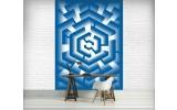Fotobehang Papier 3D | Blauw, Wit | 184x254cm