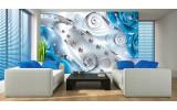 Fotobehang Papier Design, Rozen | Zilver, Blauw | 368x254cm