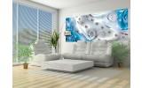 Fotobehang Design, Rozen | Zilver, Blauw | 250x104cm