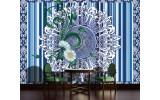 Fotobehang Papier Bloem, Strepen | Blauw | 368x254cm