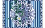 Fotobehang Vlies | Bloem, Strepen | Blauw | 368x254cm (bxh)