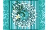 Fotobehang Bloem, Modern | Turquoise | 312x219cm