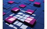 Fotobehang 3D | Blauw, Roze | 104x70,5cm