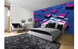 Fotobehang Papier 3D | Blauw, Roze | 368x254cm