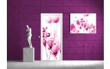 Fotobehang Bloemen | Roze, Wit | 91x211cm