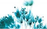 Fotobehang Bloemen | Wit, Turquoise | 208x146cm