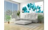 Fotobehang Bloemen   Wit, Turquoise   250x104cm