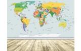 Fotobehang Wereldkaart | Geel, Blauw | 312x219cm
