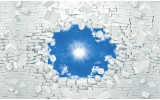 Fotobehang Papier Muur, Zon | Blauw | 254x184cm