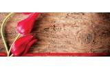 Fotobehang Bloemen, Hout | Rood | 250x104cm