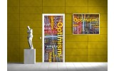 Deursticker Muursticker Abstract | Geel | 91x211cm