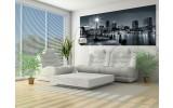 Fotobehang Skyline, Stad   Zwart, Grijs   250x104cm